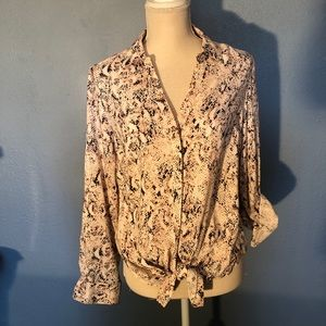 Pink and Gray Reptile Long Sleeved Blouse